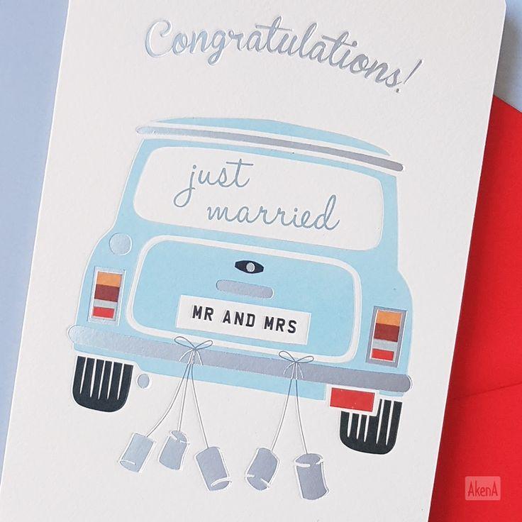 Biglietto di congratulazioni per matrimonio. Una macchina vintage per i novelli sposi - Vintage wedding card, congratulations card for the just married couple