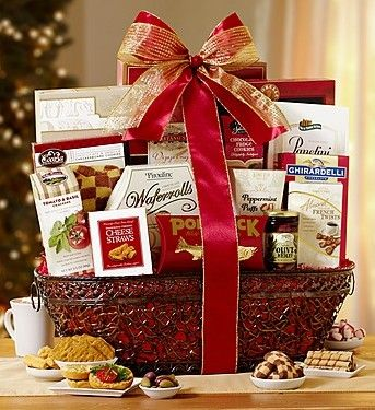 Regal Splendor Gourmet Gift Basket from 1-800-Baskets.com.  Clients and cousins alike will stand in awe of your sweet n' salty generosity when this royally scrumptious gift basket arrives. Ghirardelli®, The Popcorn Factory® and Portlock® Smoked Salmon are included, to name just a few.  Get your rebate from RebateGiant.