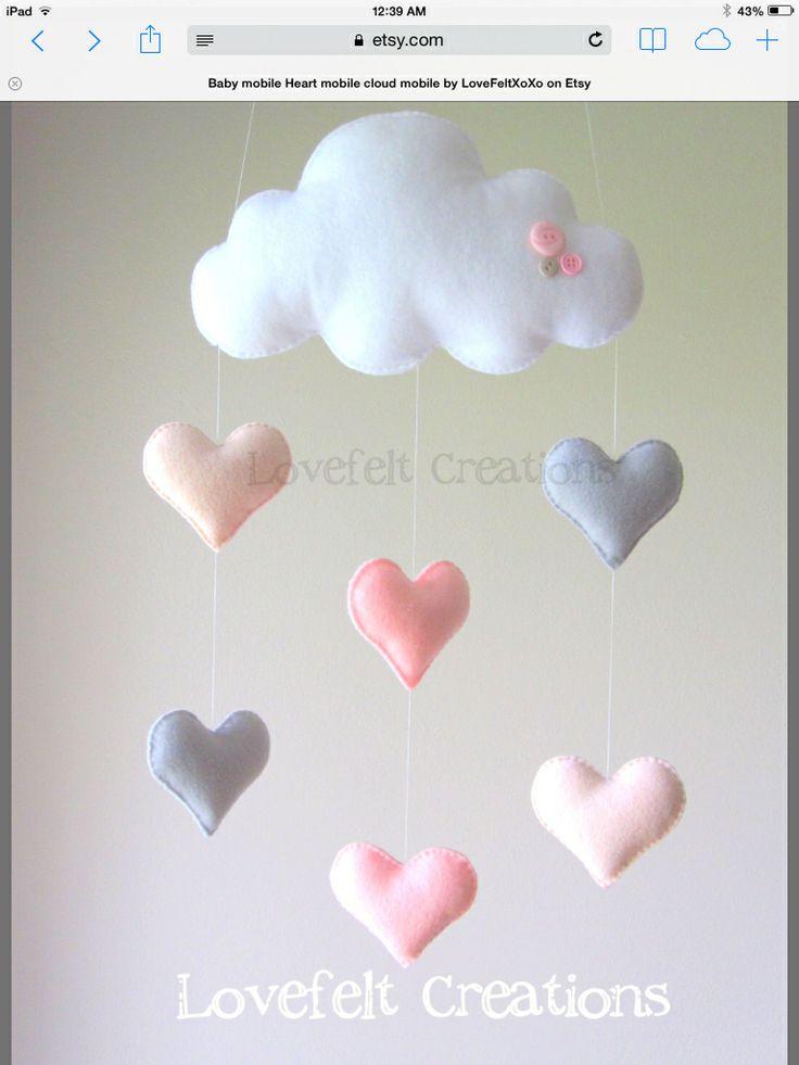 Baby girl mobile, pink and gray nursery