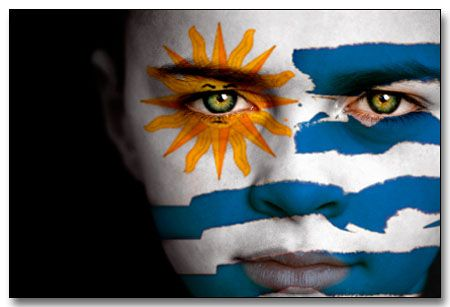 #facepaint Uruguayan Flag Face Painting