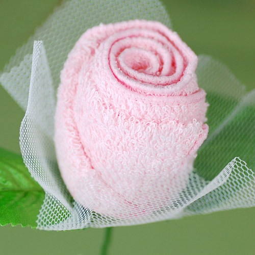 Rose Towel Favor Pink perfect for a bridal shower decoration