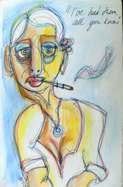 ARTFINDER: Had Them All by Steve Clement-Large - Having a smoke and looking back at a life well-lived.
