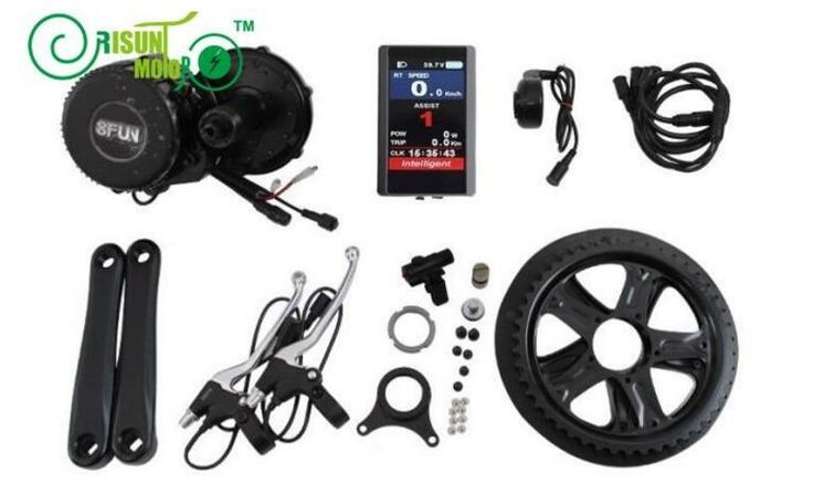 435.00$  Buy now - http://alitvg.worldwells.pw/go.php?t=32763521135 - Envio gratis Electric Bike 48V 350W 8fun Bafang BBS01 Mid Drive Motor Kits e-bike kit With colorida pantalla LCD 850C