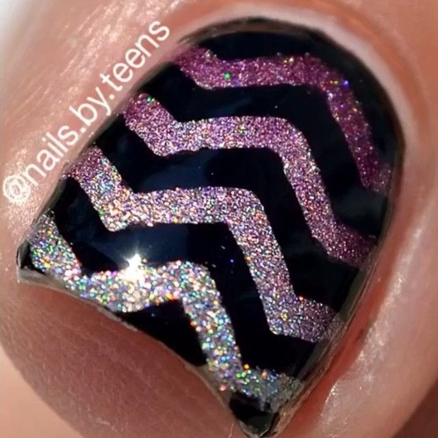 What?!?! A macro shot Its not the best but it's my first and I'm pretty proud of it  anyways #tutorial for my ombré holo chevrons Nail vinyls (black stickers) are from @whatsupnails I apply mess no more from @minimanimoonails around my nails. All polishes are from @charliesradlacquer direct link in their bios Shut up and Dance - Walk the Moon