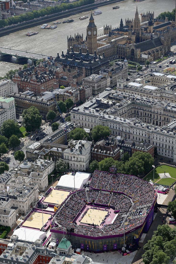 An ariel view of the Beach volleyball venue at Horse Guards Parade on Day 7 of the London 2012 Olympic Games at Olympic Park on August 3, 2012 in London, England.
