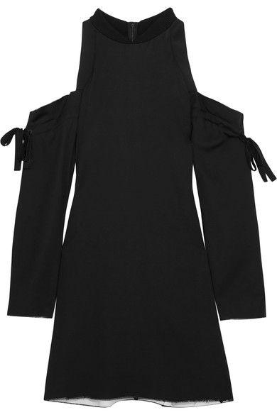 DKNY - Cutout Satin Mini Dress - Black -