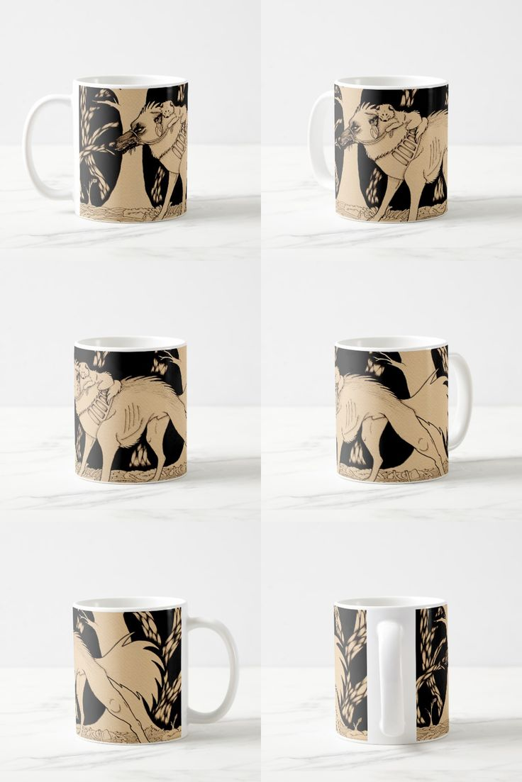 """Protector"" Black and white illustrated wolf dog coffee mug #wolf_art #wolf_products #wolf_illustration"