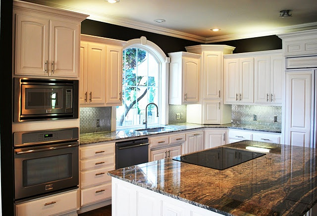 Like the black wall above the white cabinets black fox - Kitchen cabinets southwest ...