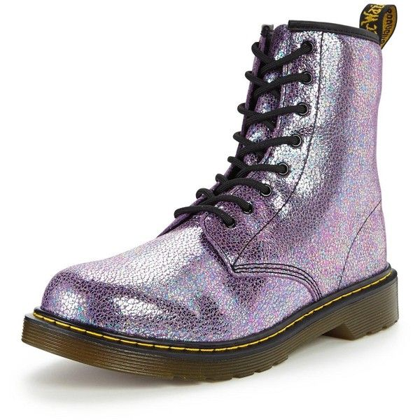 Dr Martens Delaney Glitter Boot ($69) ❤ liked on Polyvore featuring shoes, boots, leather lace up shoes, dr martens shoes, glitter shoes, lacing boots and laced boots