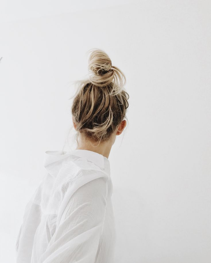 Oversized shirt & messy top knot / bun. Via Mija
