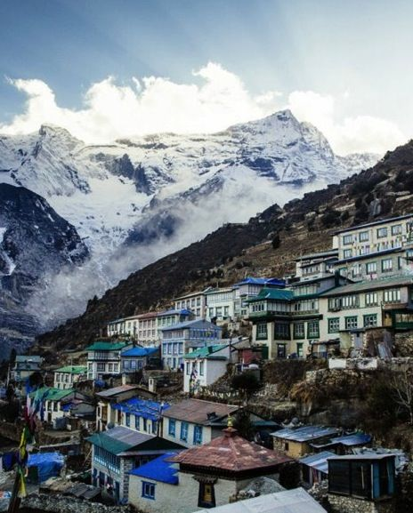 Namche Bazaar (elevation: 11,000 ft) is the epicenter of Khumbu culture and commerce in the Himalayas, and a major entry point into the mountains.