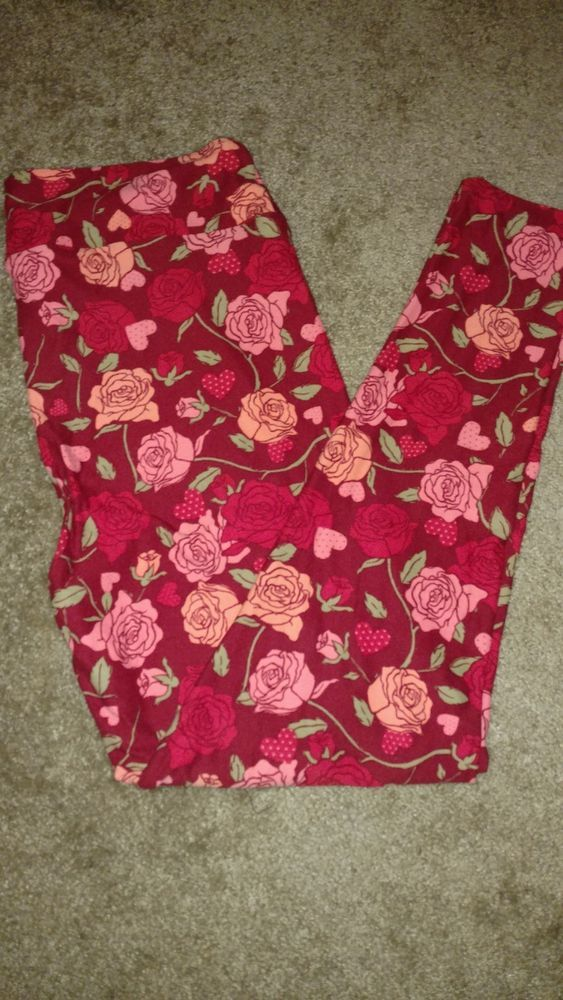 facea1b18a55b6 LulaRoe TC2 Valentines Leggings 2018 Roses Hearts Pink Red Gorgeous ...
