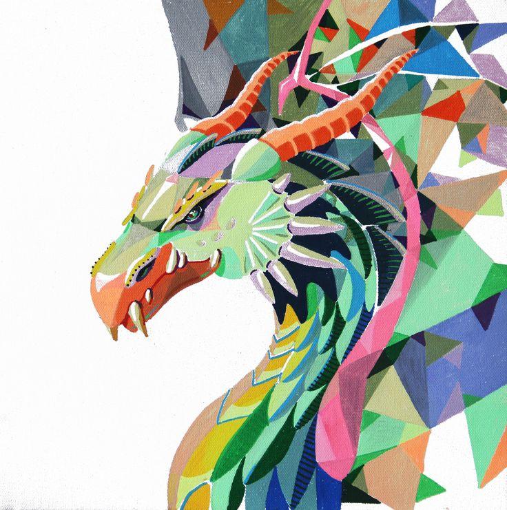 Ilustración. Dragón polygonal sobre lienzo,  molotow marker