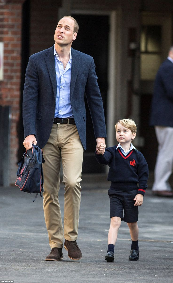 William offered a few words of wisdom to his son after getting him out of the car and looked up at his new school