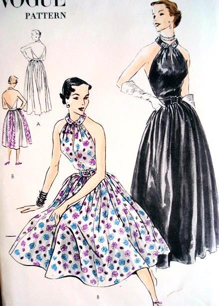 1950s HALTER DRESS GOWN PATTERN CLASSY! VOGUE 7245 $75