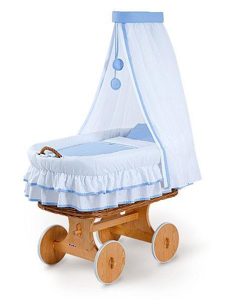 Cuna cesta de mimbre, Ana azul, Ref. 2118, 169 € In 4 - 10 days at your home (DHL, 19€). DORMOLINO - www.cama-bebe.com