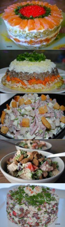 """5 САЛАТОВ НА ВСЕ СЛУЧАИ  =САЛАТ С СЕМГОЙ  =соленая семга — 400 гр  твердый сыр — 200 гр  отварной картофель — 3 шт.  вареные яйца — 3 шт.  яблоки — 3 шт.  лук — 3 луковицы, масло растительное для обжарки лука.  майонез — 300 гр  красная икра для украшения салата — 150 гр  листья салата — для украшения  =САЛАТ """"КАПРИЗ""""   =САЛАТ """"БОЛЬШОЙ ПРАЗДНИК""""   =ВЕСЕННИЙ САЛАТ  =БЫСТРЫЙ САЛАТ, С ФАСОЛЬЮ   (и крабовыми палочками)"""