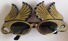 Vintage Paulette Guinett sunglasses France 1950-60s Black & Rhinestone Swans