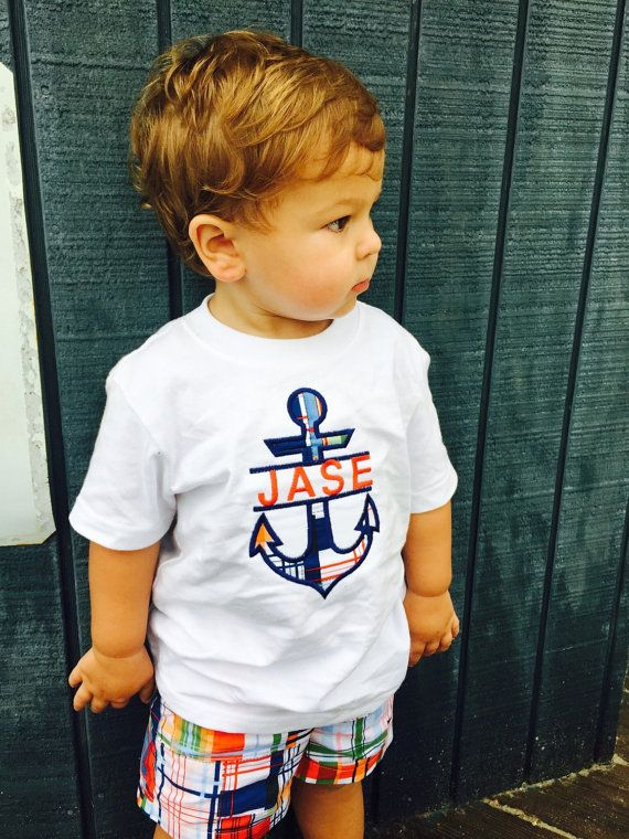 Baby Boy Appliqued Anchor Shirt and Shorts Set by PurttyStitches