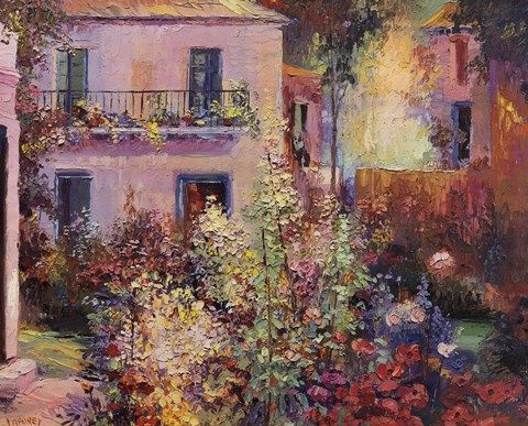 Balcony with Flowers  	             by La Foret