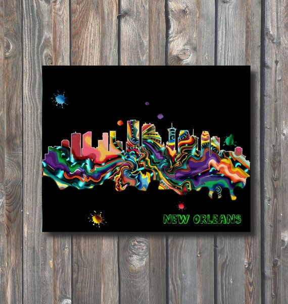 PRINTABLE New Orleans Skyline Wall by HappyFiestaDesign on Etsy