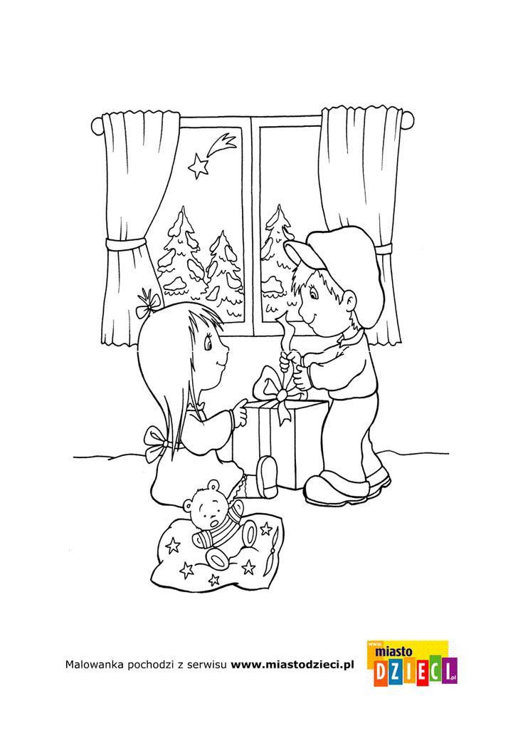 Kolorowanka - Dzieci rozpakowują prezenty