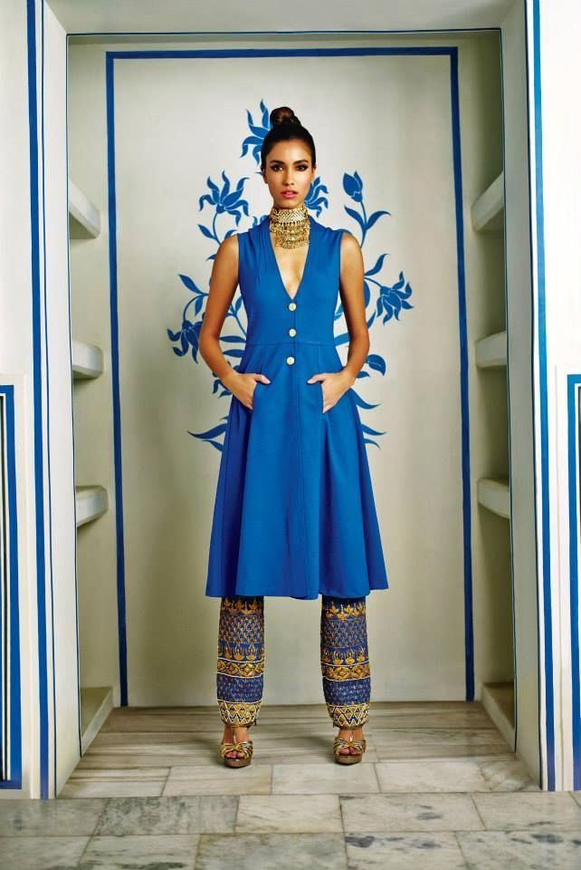 Anita Dongre Festive 2014 collection blue and gold pant suit
