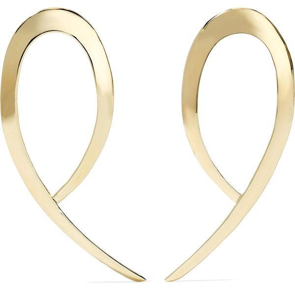 Jennifer Fisher XL Root gold-plated earrings (8.520 ARS) via Polyvore featuring jewelry, earrings, lightweight earrings, lightweight hoop earrings, jennifer fisher jewelry, twisted hoop earrings y gold plated earrings