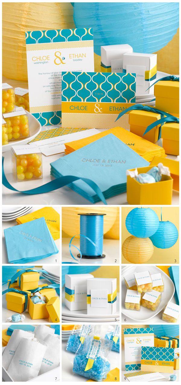Voici tous nos détails pour la décoration d'une communion, d'un bapteme jaune et bleue turquoise hyper tendance. 1. Les serviettes de table personnalisées: personnaliser sa décoration de candy bar ou de table avec des serviettes en papier imprimées du...