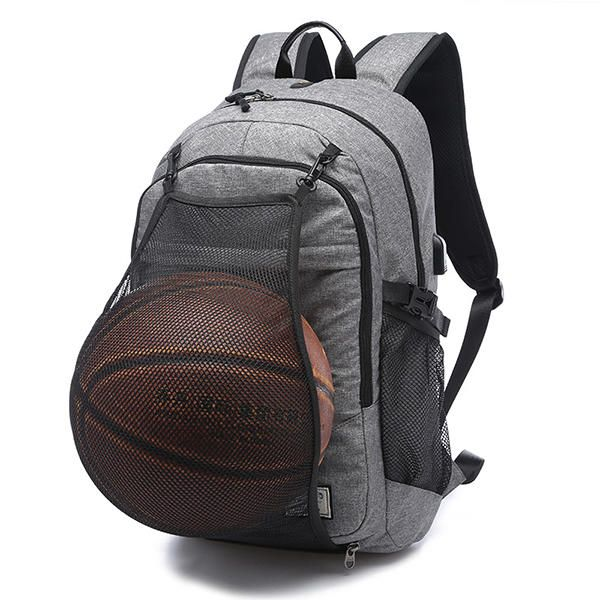 """Men Canvas Multifuction Sport Bag Casual Rucksack 17"""" Basketball Backpack with U - US$46.20"""