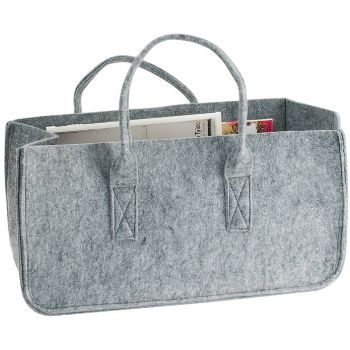 This light grey felt bag by Present Time is perfect for storing magazines, scarves, toys....or even for popping down to the shops!  The simple stylish design will look great in any interior and the nature of felt makes this bag extremely strong and durable.