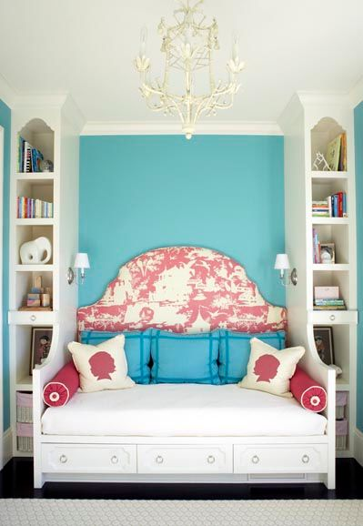 pink blue daybed girls room