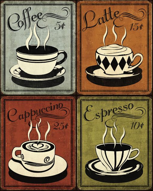 retro coffee ad prints..Perfect for coasters. www.myjavita.com/paigescoffeenw More