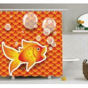 Orange Shower Curtain Set, Cute Small Goldfish Talking with Bubbles Random Scallop Patterns Decorative Home, Bathroom Decor,  Burnt Orange, by Ambesonne Image 1 of 1