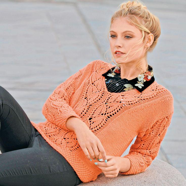 Коралловый пуловер с сочетанием узоров
