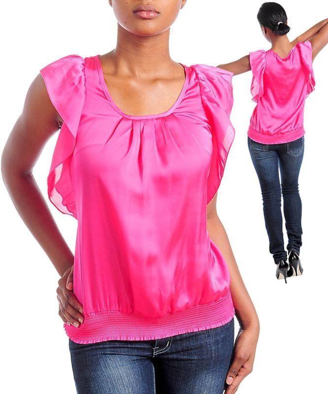 Career Fuchsia Pink Satin Blouse