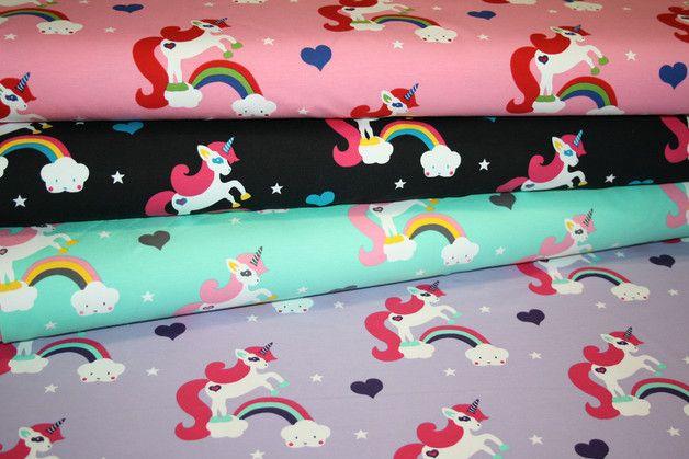 Kinderstoffe - Jersey fabric unicorn black 0.50m - a design piece from renee-d on DaWanda