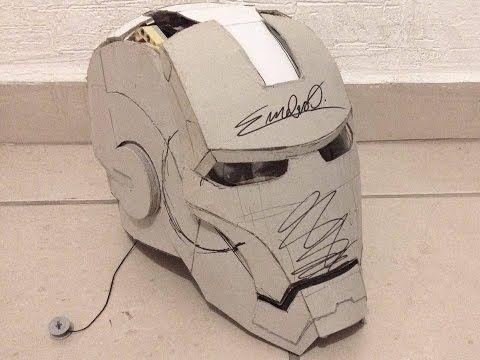 Traje de Iron Man 100% cartón, actualización, casco casi terminado y mecanismo de apertura - YouTube