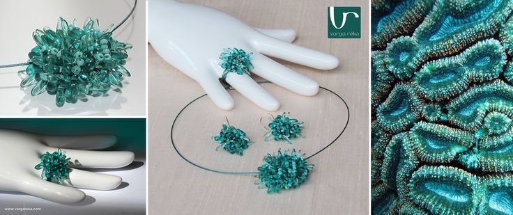 Fuzzy turquoise wire crocheted set made of tiny petals  http://www.vargareka.com/