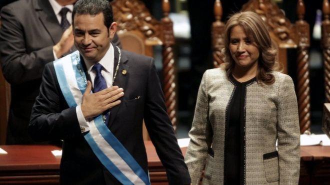 Presidente Jimmy Morales, y su esposa Gilda Marroqui