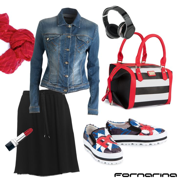 Fornarina styling tips #fornarina #myFornarina #stylingtips #lookidea #fashion #stripes #pop #redtouch