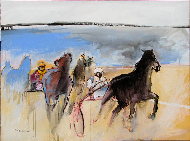 Le cheval bleu #art #contemporain #cheval #course #peinture #toile #bathellier #carol