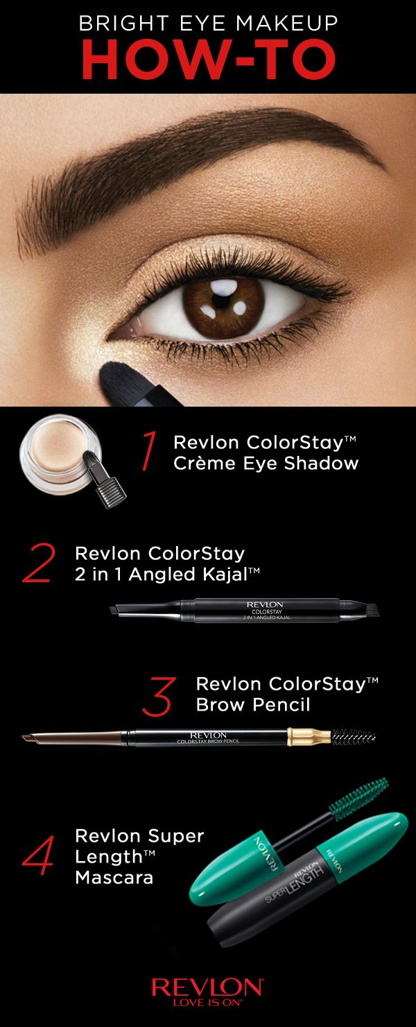 Create a bright eye look with the Revlon ColorStay™ Eye collection. STEP 1: Sweep the Crème Eye Shadow in Crème Brulee tightly under lower lashes, inner corner and lid with the tip of the brush. STEP 2: Apply the Kajal Liner along the top lash line starting from the inner corner of eye and working outwards. STEP 3: Using the Brow Pencil, fill in uneven areas with light feathered strokes and use the brush side to comb and blend for a natural effect. STEP 4: Finish the look with mascara.
