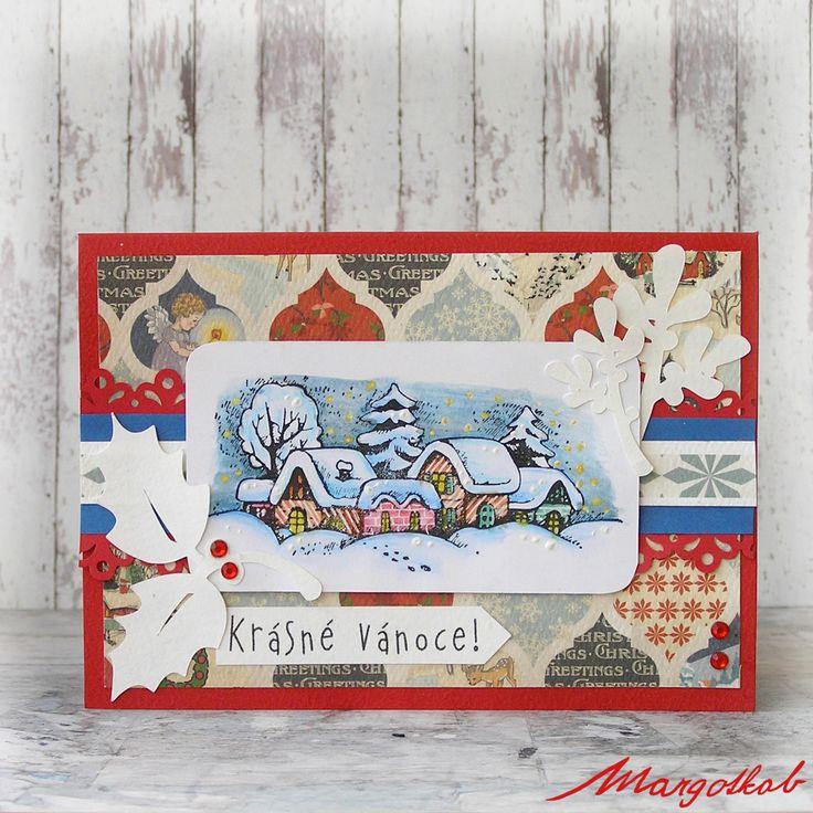Vánoční+přání+s+vánoční+vesnička+Přáníčko+z+papíru+velikost+a6.
