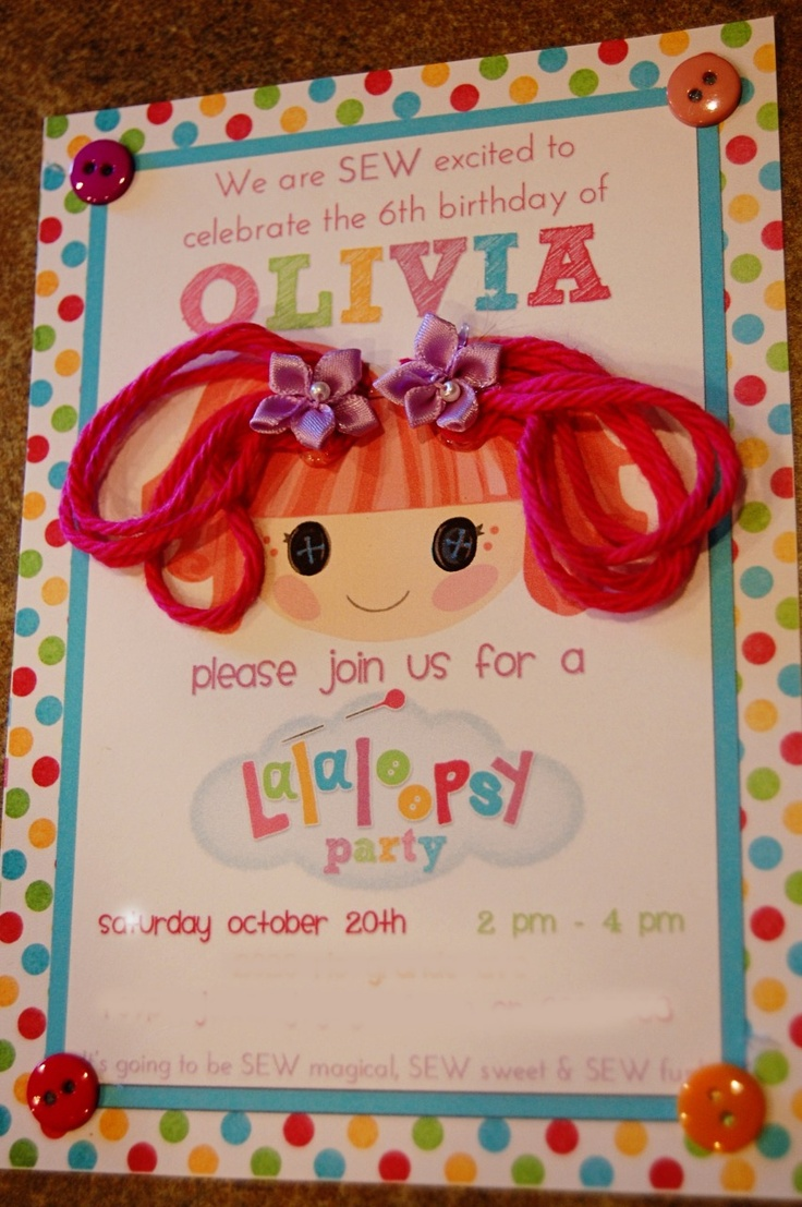 Lalaloopsy Party Invitation : Girly party DIY decoration & invitation craft.