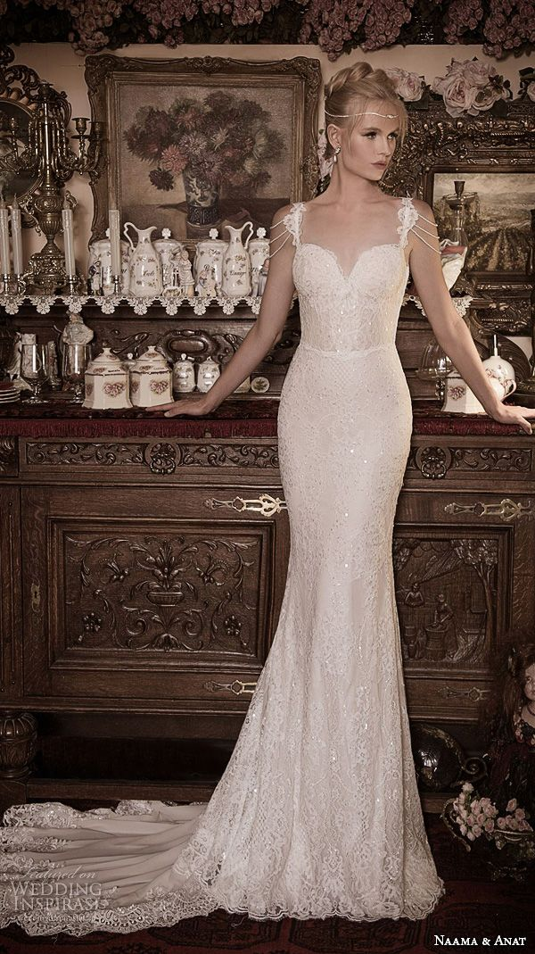 naama anat fall 2016 bridal dresses beautiful mermaid wedding dress trumpet lace strap sweetheart neckline lace beaded gown style nobility