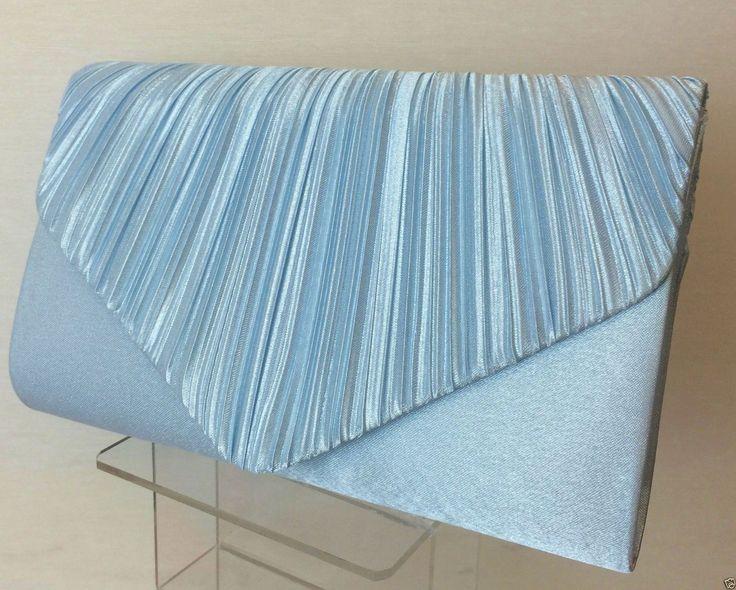 Light Blue Pleated Satin Envelope Evening Clutch Bag