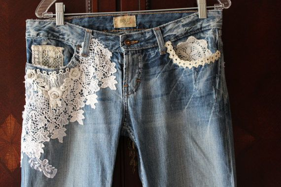 Women's Boho Jeans Antique Lace Embellished French Romantic Shabby Tattered Distressed on Etsy, $98.00