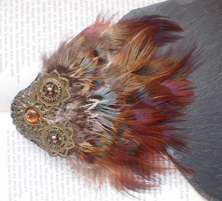Pheasant Feather Fascinator with Gold and Bronze Gems, Cogs and Mandalas. Steampunk Hair Clip with Multi Coloured Rainbow Feathers. by FindingUlysses on Etsy