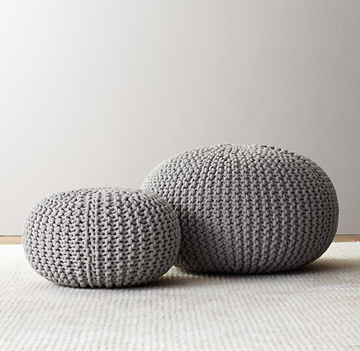 Restoration Hardware - Knit Cotton Pouf $89-$149... So funny, I just pinned a free pattern to my Yarn board that is the exact same as these… Can't wait to make a few!